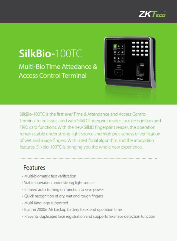 โบว์ชัวร์เครื่องสแกนลายนิ้วมือ ZKteco SilkBio-100TC_001