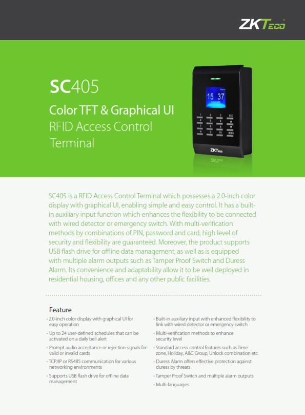 โบว์ชัวร์เครื่องทาบบัตร คีย์การ์ด ZK SC405 จอสี