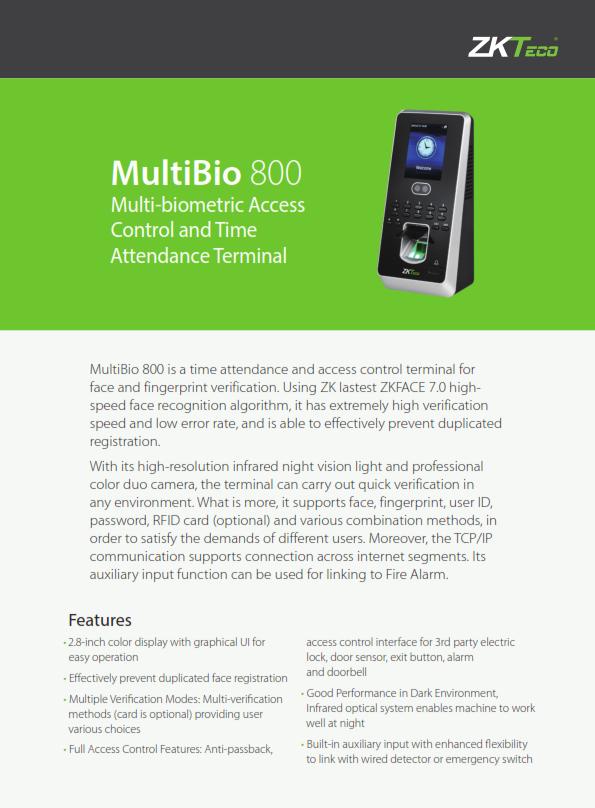 โบว์ชัวร์เครื่องสแกนลายนิ้วมือ ZKteco Multibio800_001